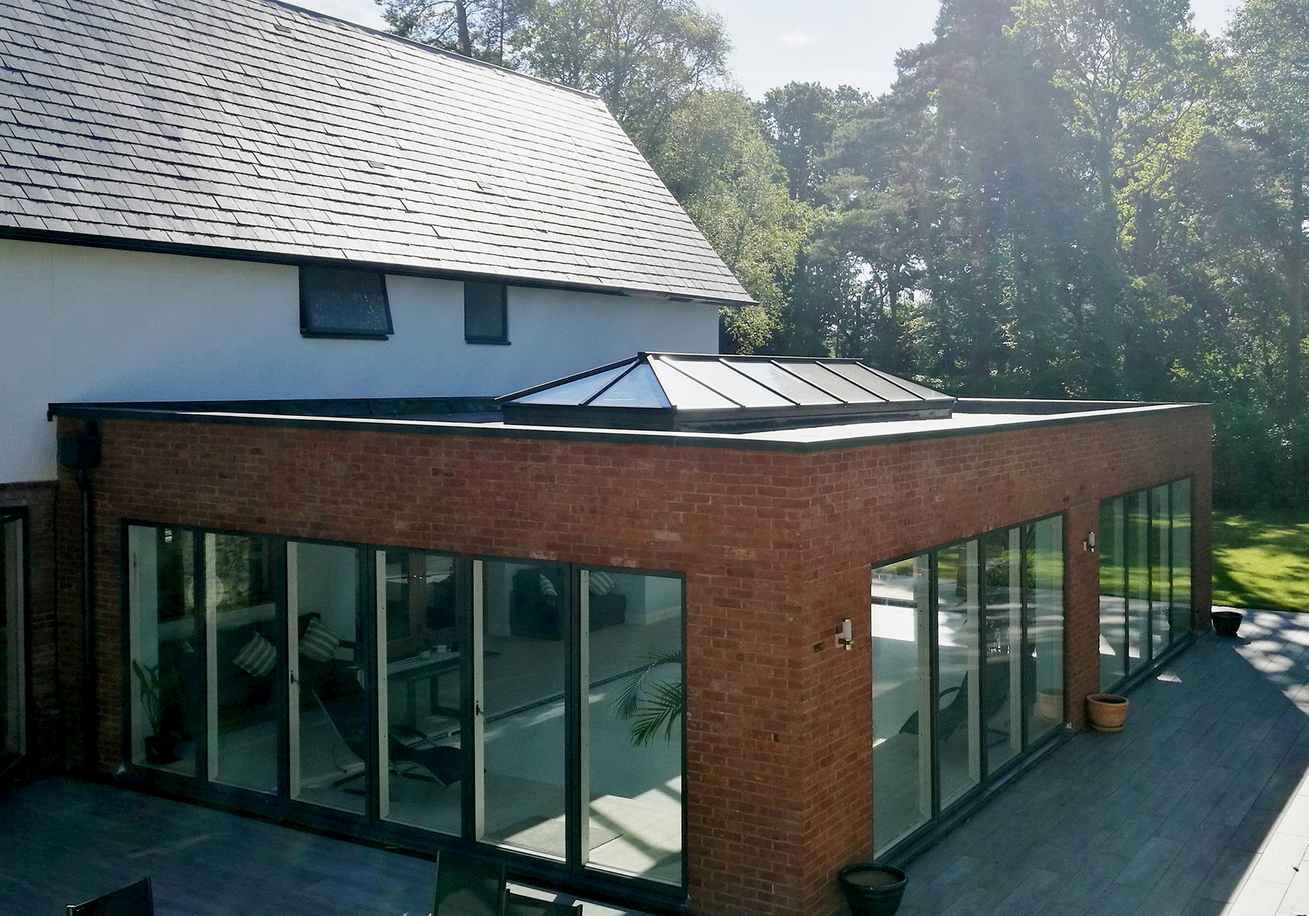 Roof Lantern And Flat Glass Roof Light Transform Hampshire Property