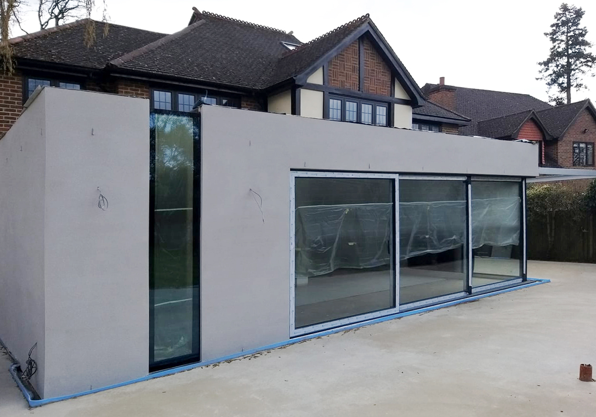 pure glass bespoke glass eaves external view