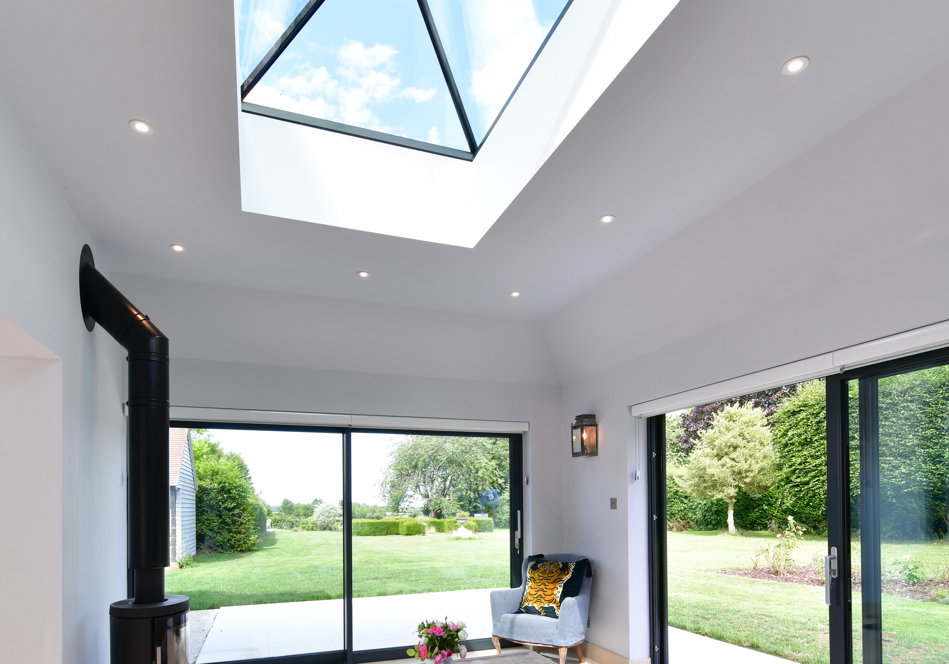 pure glass roof lantern and twin Glide S sliding doors. Upton Grey Hampshire