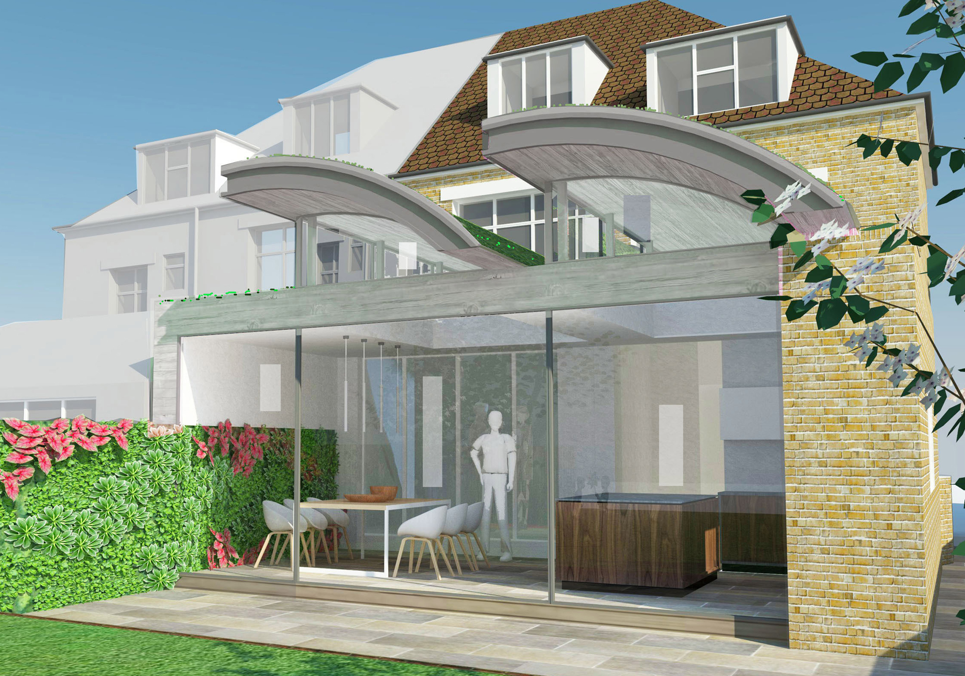 proposed design of new rear extension at Herondale Avenue by One World Design