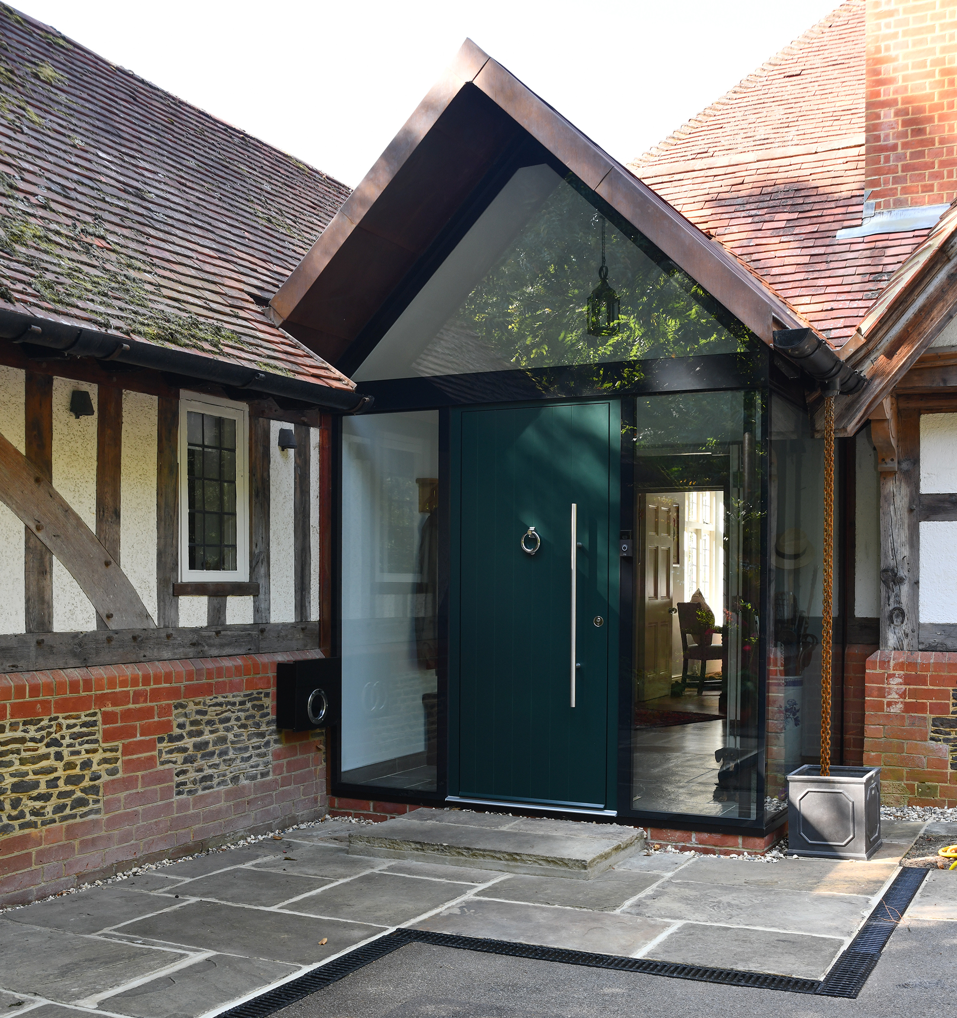 bespoke glazed porch featuring a glazed gable from Exact Architectural Glazing