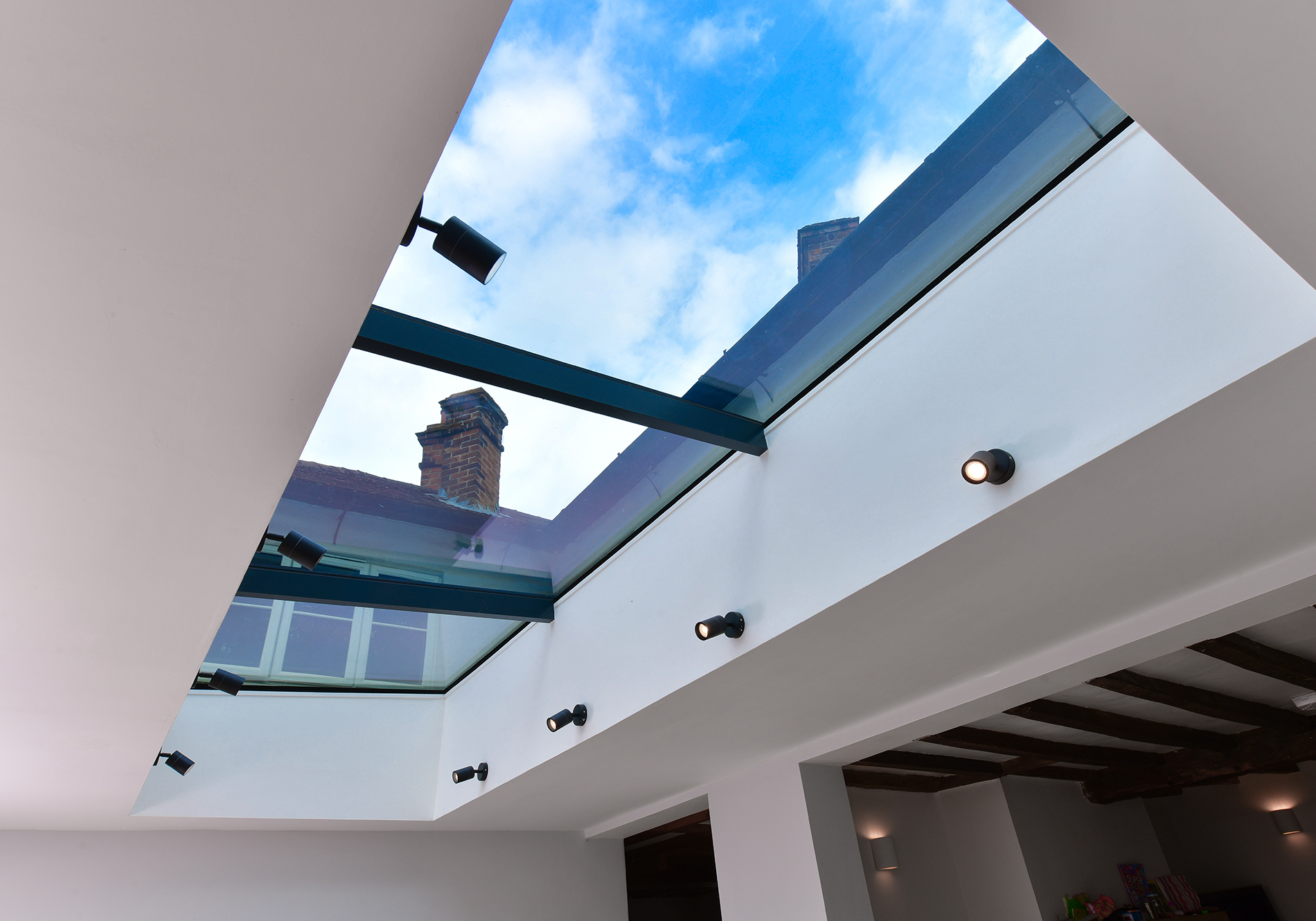 3 pane aluminium pure glass flat roof light