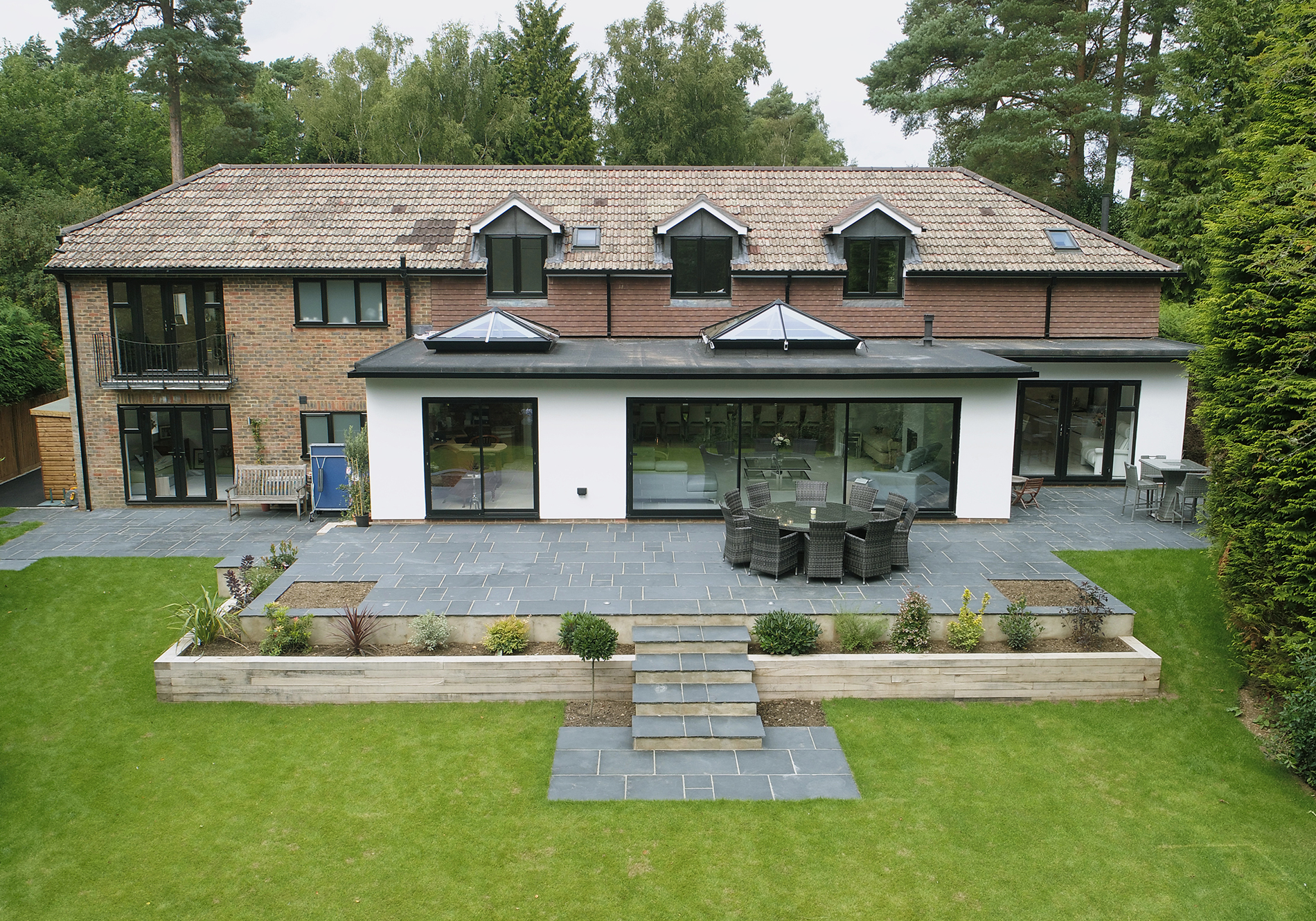 Kingswood Firs aerial shot, featuring EdgeGlide and Veka French Doors