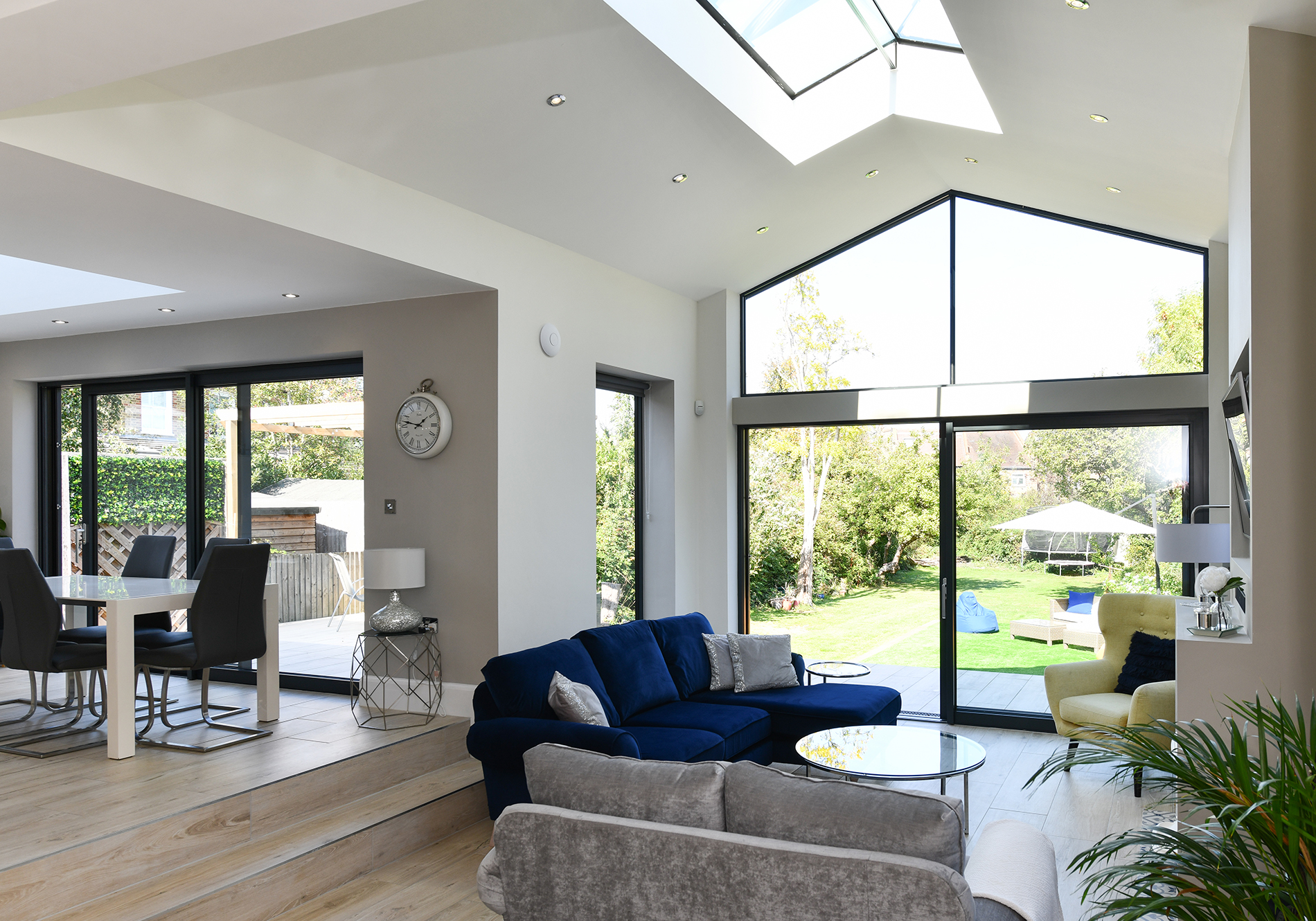 Glazed glable, Glide S Sliding Doors, Aluminium Windows and PUre Glass Roof Lantern featured in New Malden project by Exact Architectural Glazing