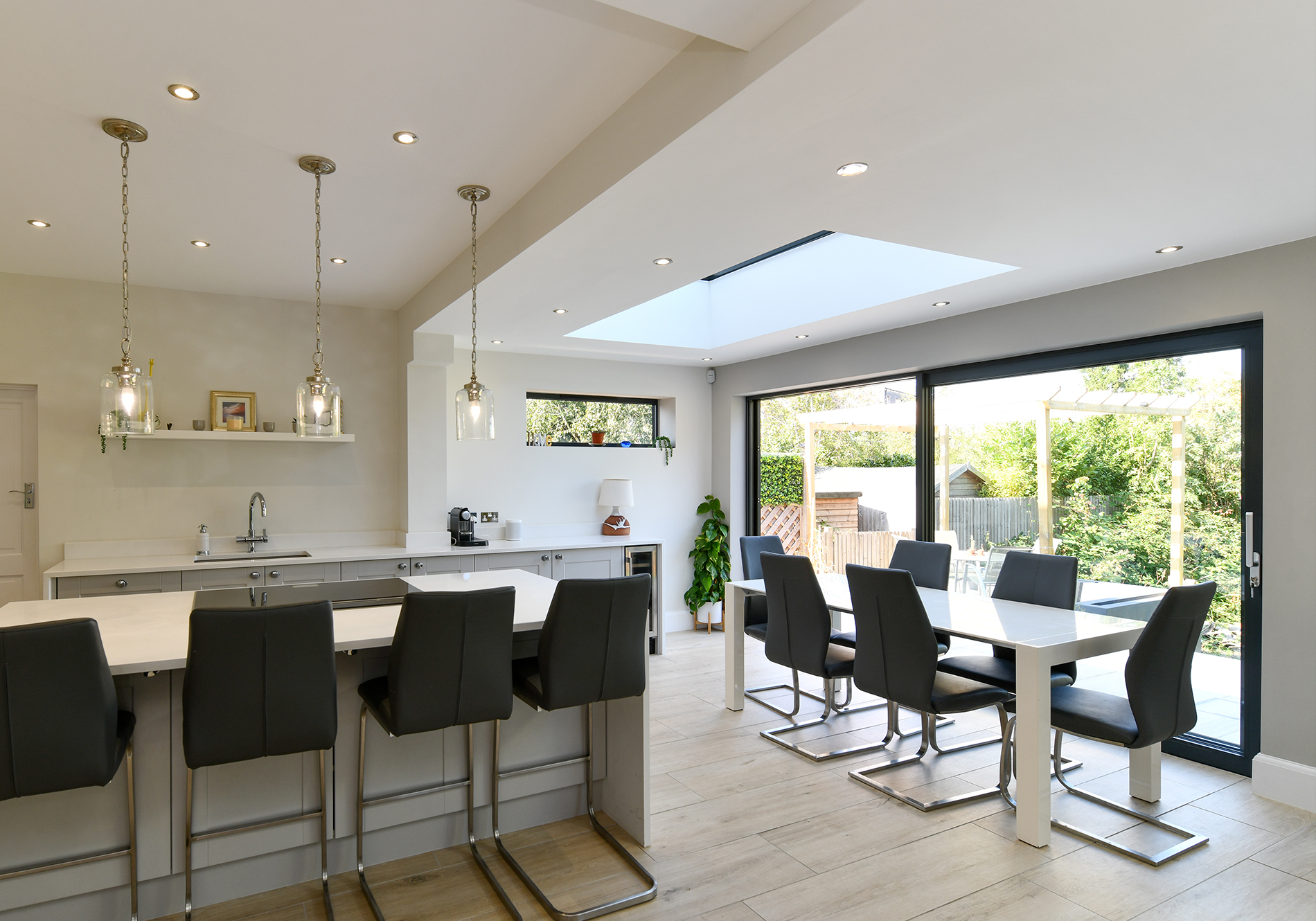 combining roof glazing, aluminium windows and sliding doors by Exact Architectural Glazing